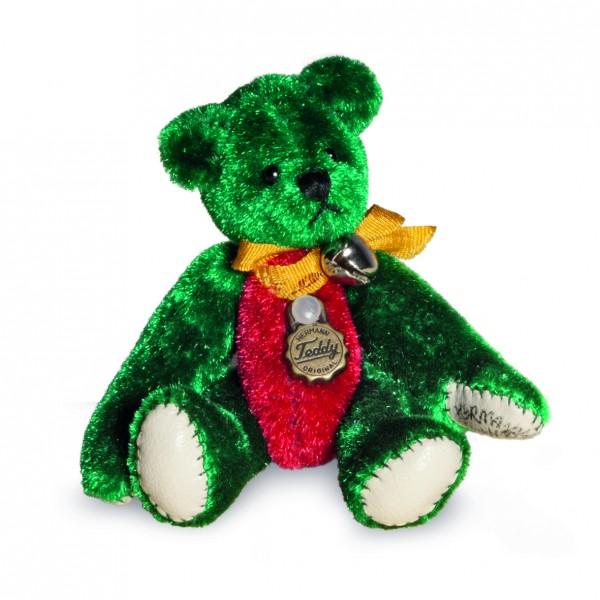 Teddy Hermann 154440 Teddybär Miniatur grün/rot 6 cm