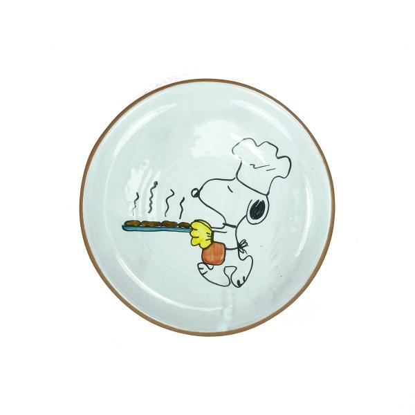 Terracotta Teller Snoopy als Pizzabäcker