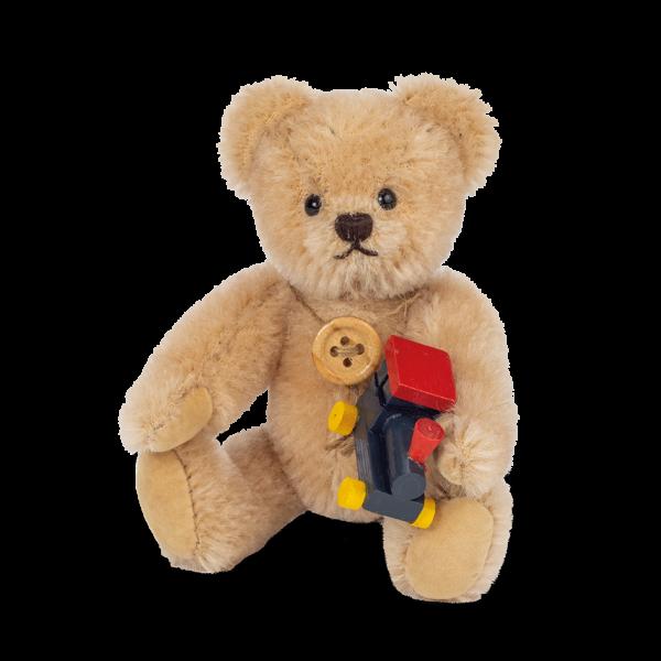 Teddy Hermann 154792 Teddybär 11 cm mit Lokomotive