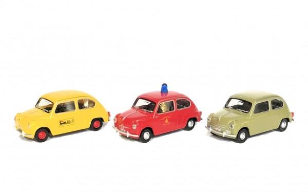 Wiking Set Fiat 600 AGIP, Vigili del Fuoco, Polizia Stradale