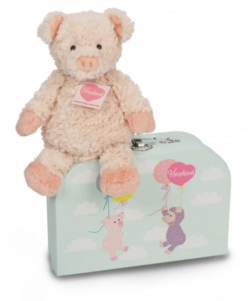 Teddy Hermann 938811 Schweinchen Sunny 27 cm im Koffer
