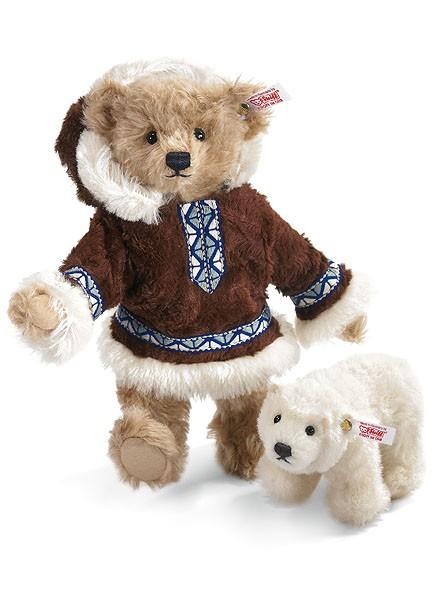 Steiff 036019 Matou Eskimo Teddybär 26 cm mit Eisbär Mohair