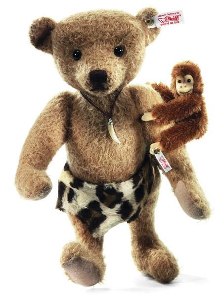 Steiff 035104 Teddybär Johnny 31 cm und Affe Jocko 21 cm Mohair