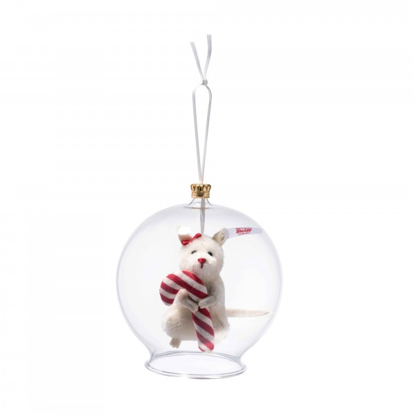 Steiff 006296 Candy Cane Maus in Glaskugel Ornament 8 cm