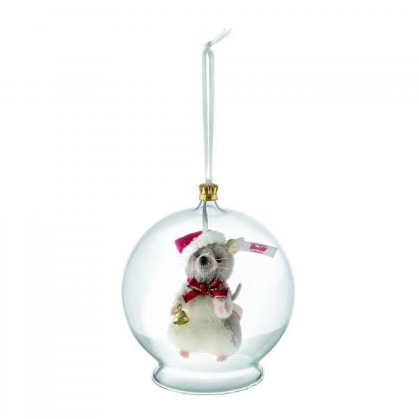 Steiff 021657 Weihnachtsmaus in Glaskugel Ornament 8 cm