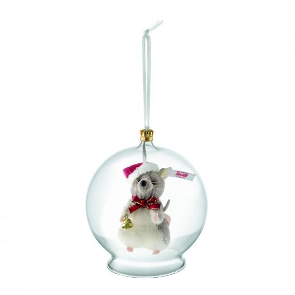Steiff 021657 Weihnachtsmaus in Glaskugel Ornament 8 cm