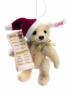 Steiff 682032 Naughty or Nice Teddy Bear Ornament Mohair USA