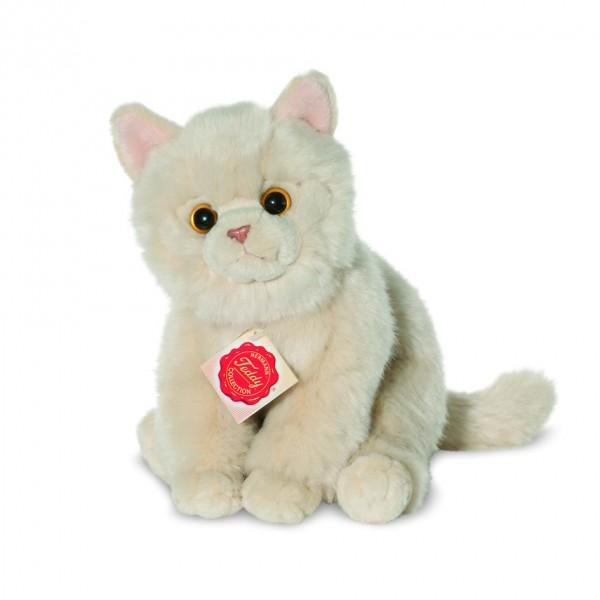 Teddy Hermann 906933 Katze beige Wirkplüsch 24 cm