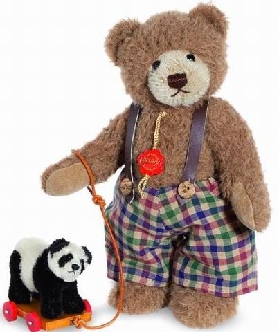 Teddy Hermann 170419 Teddybär Sigi mit Panda Mohair 32 cm limitiert