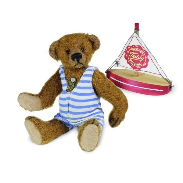 Teddy Hermann Teddybär mit Boot Miniatur 10 cm