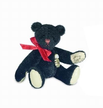 Teddy Hermann 153887 Teddybär schwarz Miniatur 6 cm