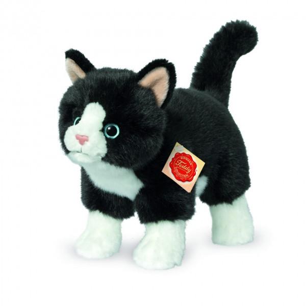 Teddy Hermann 918202 Katze stehend schwarz/weiß 20 cm