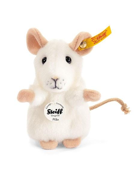Steiff 056215 Pilla Maus weiss 10 cm aufwartend