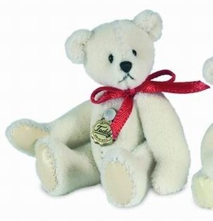 Teddy Hermann 153863 Teddy Weiss Miniatur 5 cm
