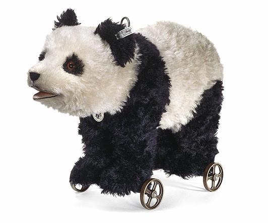 Steiff 400452 Teddybär Panda Pandabär auf Rädern Mohair 50 cm