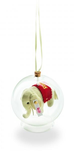 Steiff 021374 Filzelefant Ornament in Glaskugel 8 cm