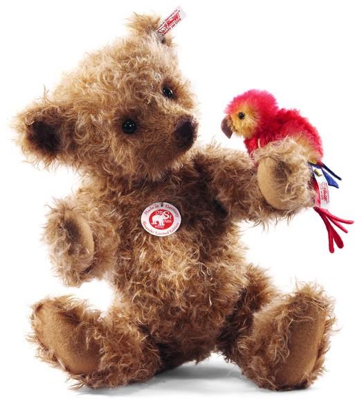Steiff 034978 Alexander Teddybär 34 cm mit Papagei Mohair